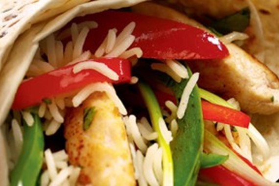 Stir Fried Chicken with Peppers Wrap