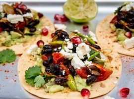 Smoky black bean, smashed avo & feta Tacos