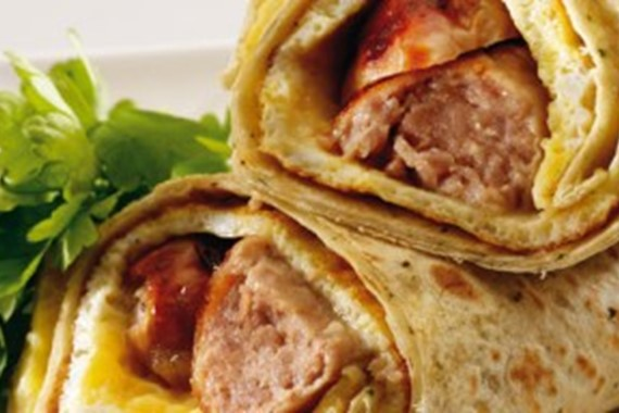 Omelette and Pork Sausage Wrap